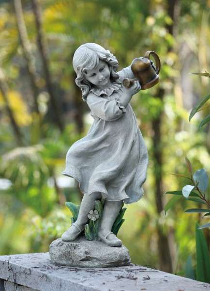 "Little Girl Holding a Watering Can Outdoor Garden Statue - 22""H - Stone"