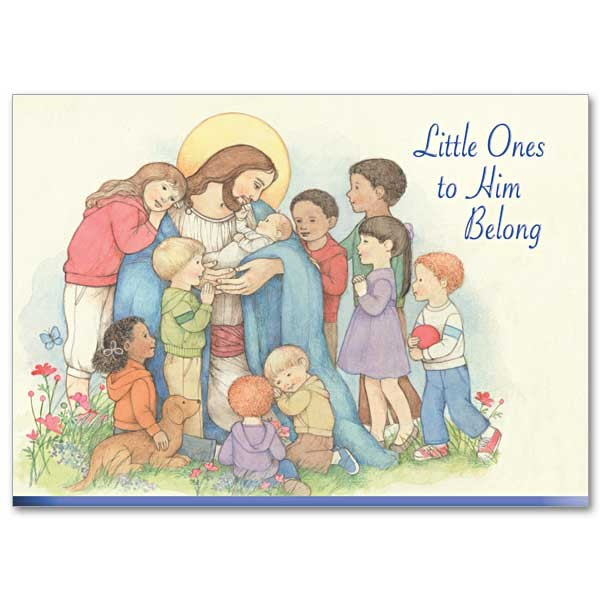 Little Ones to Him Belong Baptism Prayer Greeting Card - Multi-Color