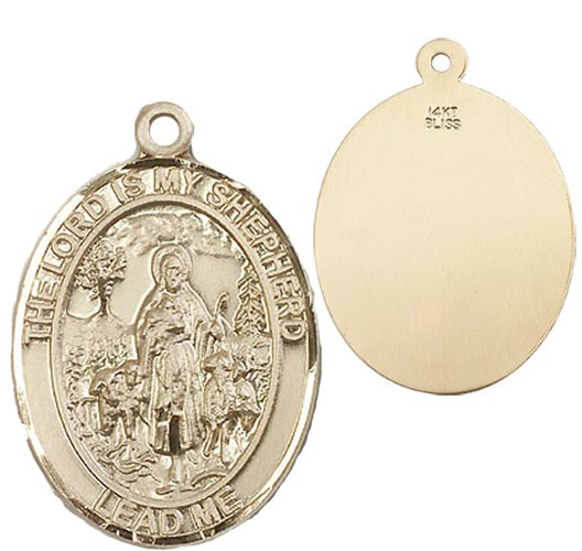 Lord Is My Shepherd Medal - 14K Yellow Gold
