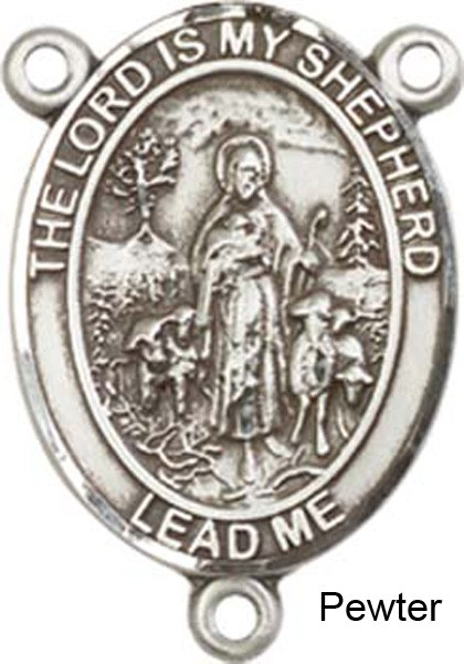Lord is My Shepherd Rosary Centerpiece Sterling Silver or Pewter - Pewter