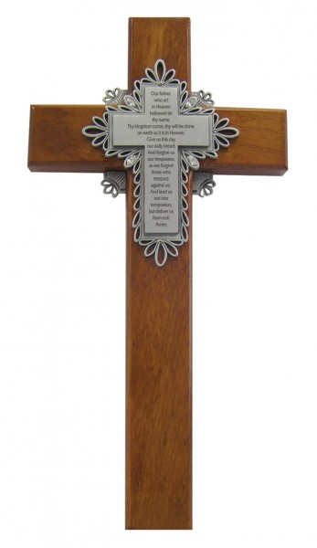 "Lord's Prayer Wall Cross in Cherry Wood 10"" - Brown"