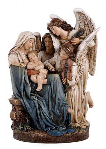 "Madonna and Child with Angels Statue 7"" High - Full Color"