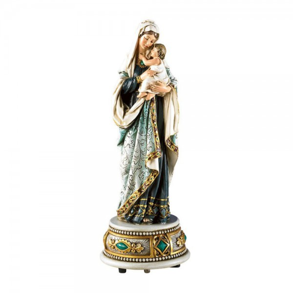 Madonna and Child Musical Figurine 8.5 Inch - Full Color