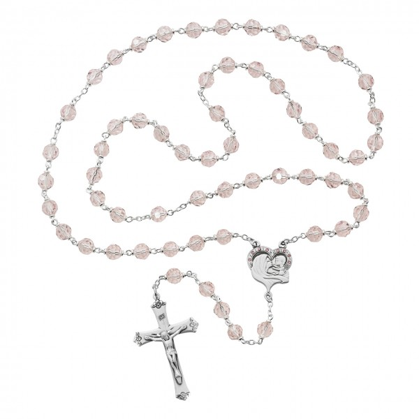 Sterling Silver Madonna and Child Heart Shaped Rosary - Rose