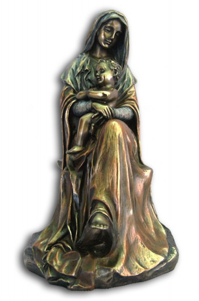Madonna and Child Statue in Bronzed Resin - 6 inches - Bronze
