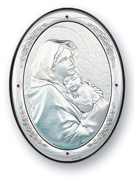 Madonna of the Street Sterling Silver Plaque: Available in 3 Sizes - Multi-Color