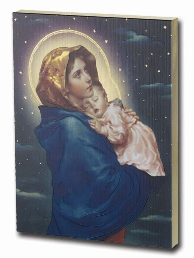 Madonna of the Streets Gold Embossed Wood Plaque - Multi-Color