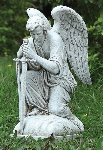 Male Kneeling Angel Statue - 13 1/4 - Stone Finish