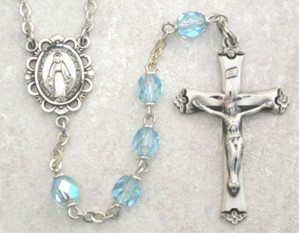 March Birthstone Rosary (Aqua) - Sterling Silver - Aqua