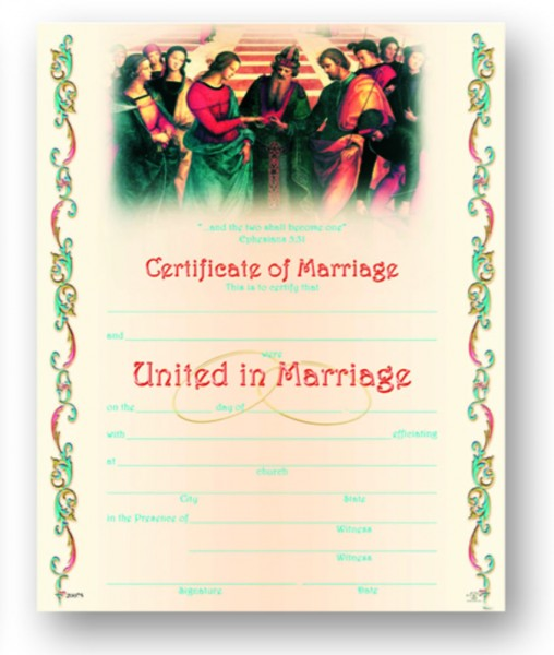 Marriage Certificate for Catholic Church - Full Color
