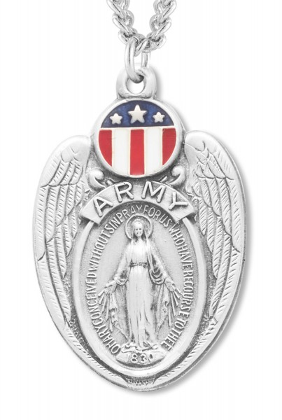 Mary Army Medal Sterling Silver - Silver