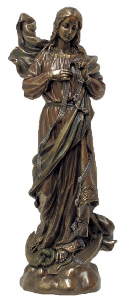 Mary, Undoer of Knots Bronzed Resin Statue - 12 Inches - Bronze