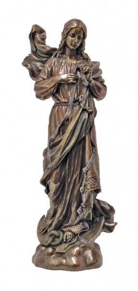 Mary, Undoer of Knots Statue, Bronzed Resin - 8 Inches - Bronze