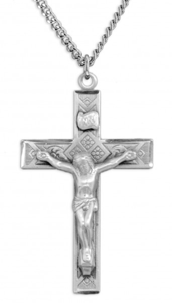 Masculine Contemporary Crucifix Pendant - Sterling Silver