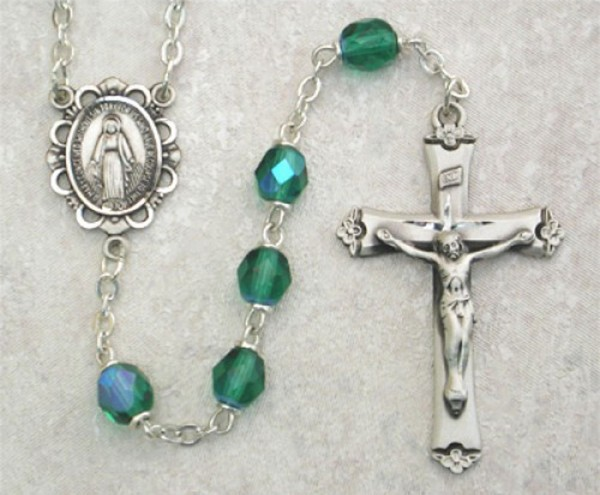 May Birthstone Rosary (Emerald) in Sterling Silver - Emerald Green