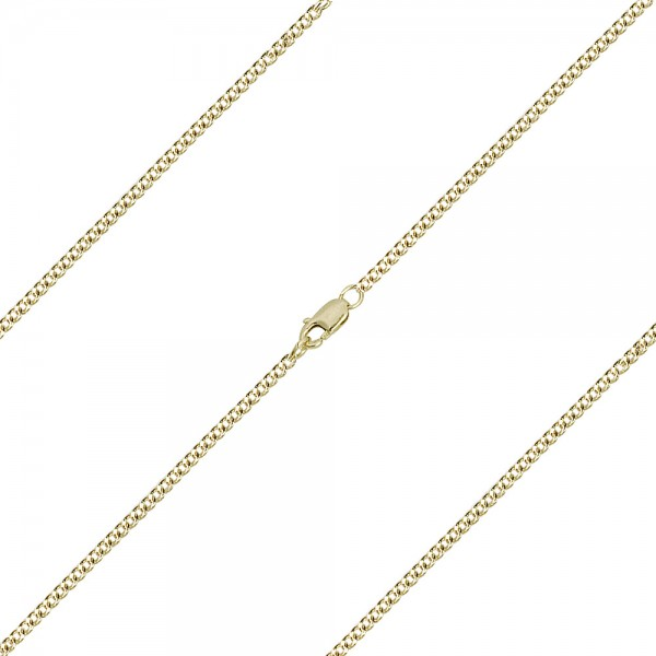 Medium Curb Chain w. Clasp Various Sizes Metals - 14K Solid Gold