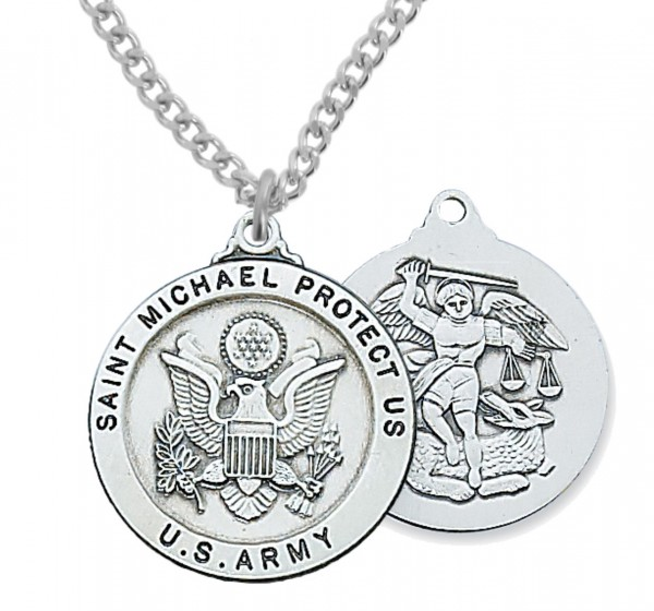 Men's Army Saint Michael Medal Sterling Silver of Pewter - Silver