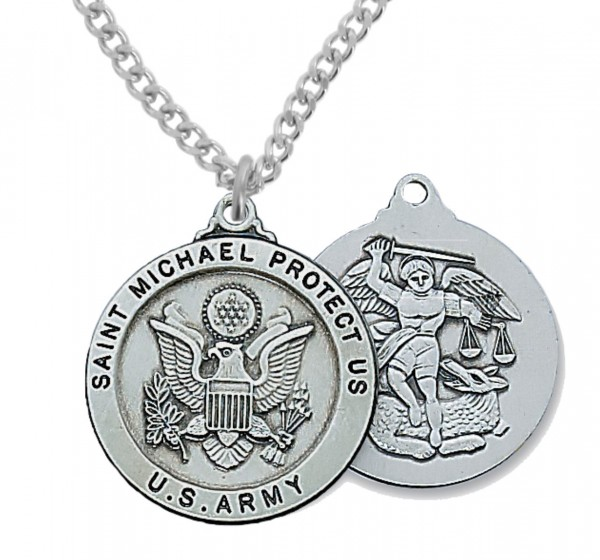 Men's Army Saint Michael Medal Sterling Silver of Pewter - Pewter