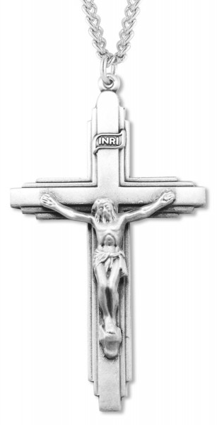 Men's Art Deco Crucifix Pendant - Sterling Silver