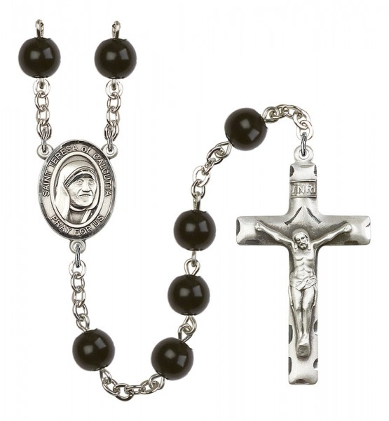 St. Teresa of Calcutta Silver Plated Rosary - Black