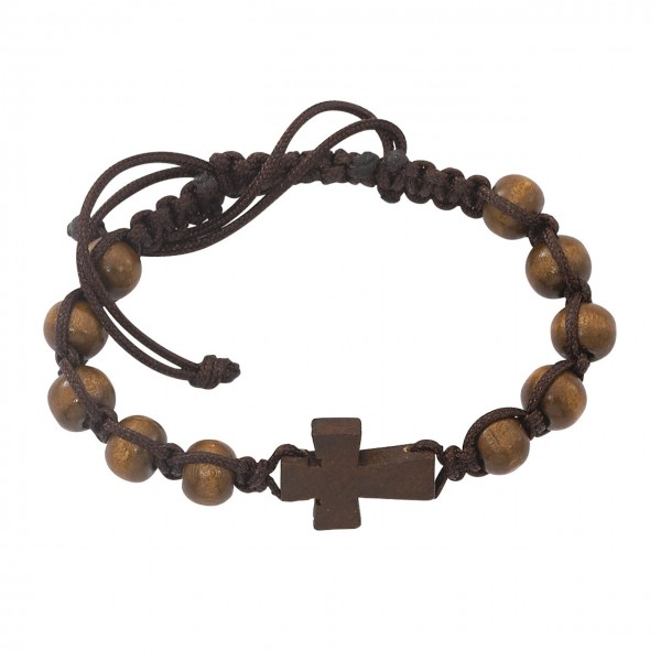 Men's Brown Wood Beads with Cross and Black Cord Bracelet - Brown