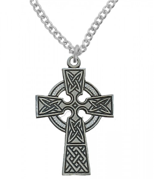 Men's Celtic Cross Pendant Sterling or Pewter - Pewter