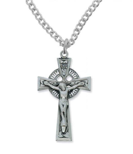 Men's Celtic Crucifix Pendant Sterling Silver or Pewter - Pewter