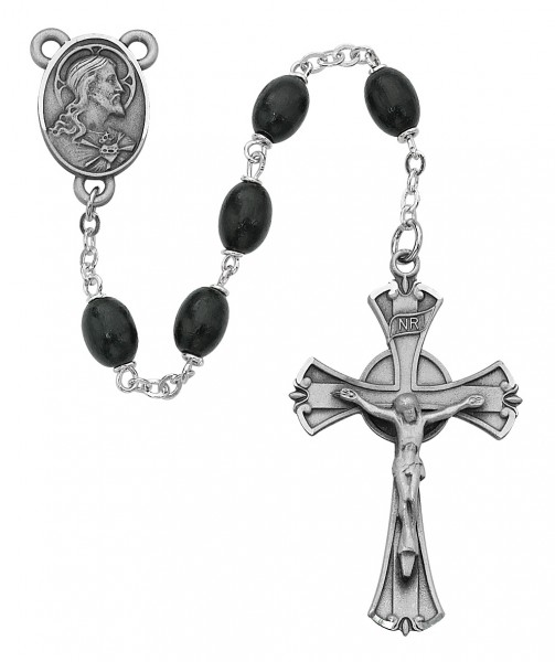 Men's Classic Black Oval Wood Bead Rosary - Black