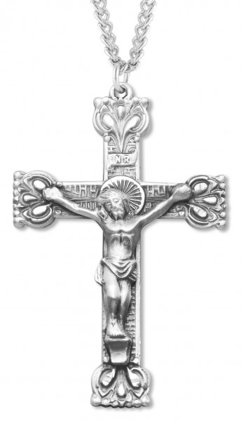 "Men's Crown Tip Crucifix with 24"" Chain - Sterling Silver"