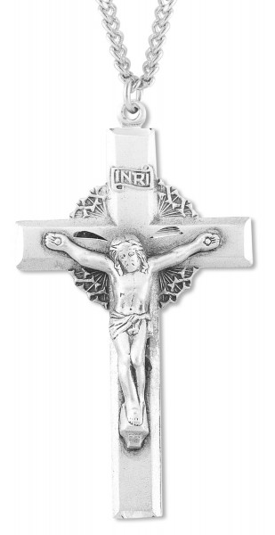 Men's Crown of Thorns Crucifix Pendant - Sterling Silver