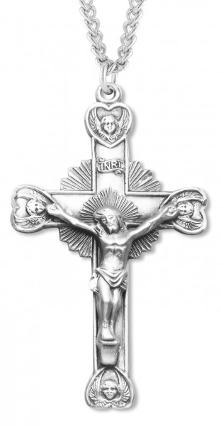 Men's Crucifix with Heart Angel Tips - Sterling Silver