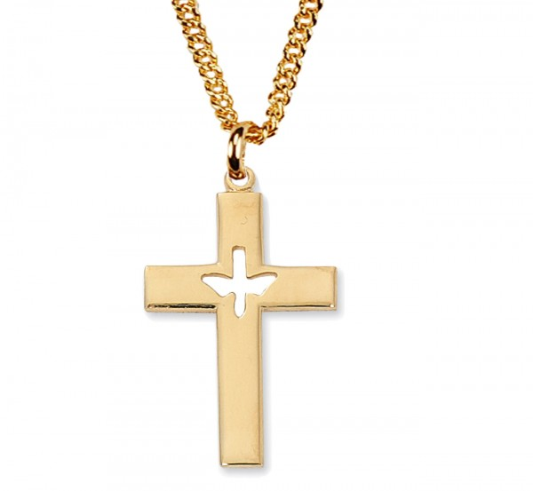 Men's Cut-Out Holy Spirit Cross Necklace - Gold Tone