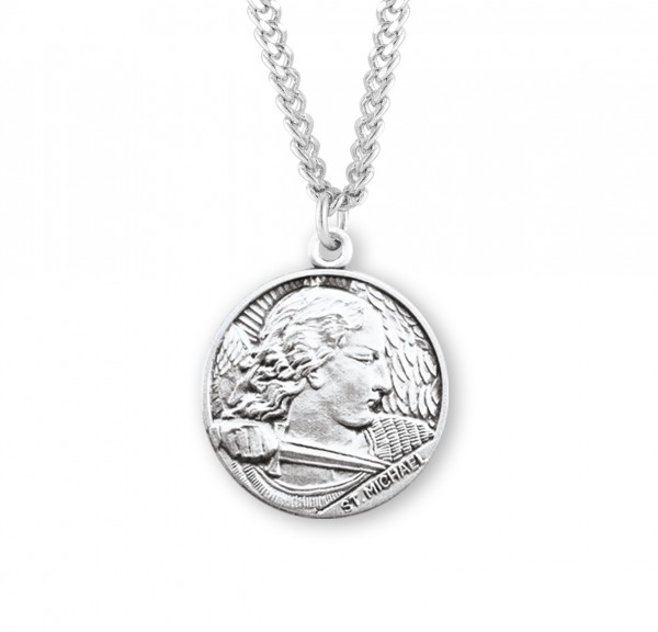 Men's Face of Saint Michael Medal - Sterling Silver