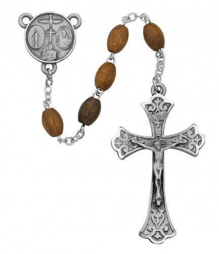 Men's Four Way Olive Wood Rosary - Brown