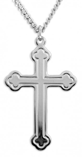 Men's High Polish Cross with Clover Tips - Sterling Silver