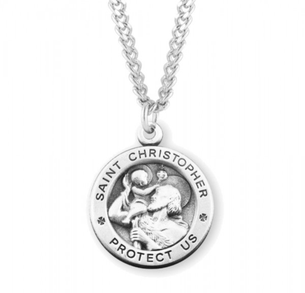 Men's High Relief Saint Christopher Necklace - Sterling Silver