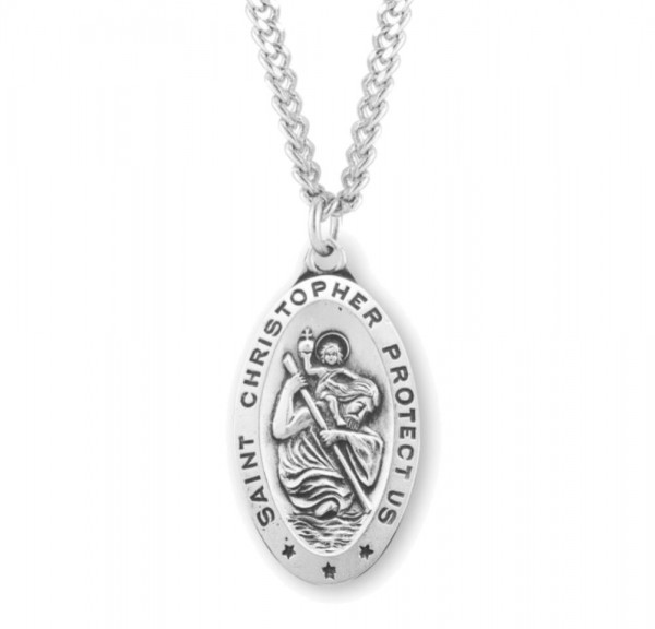 Men's Large Almond Shape St. Christopher Necklace - Sterling Silver