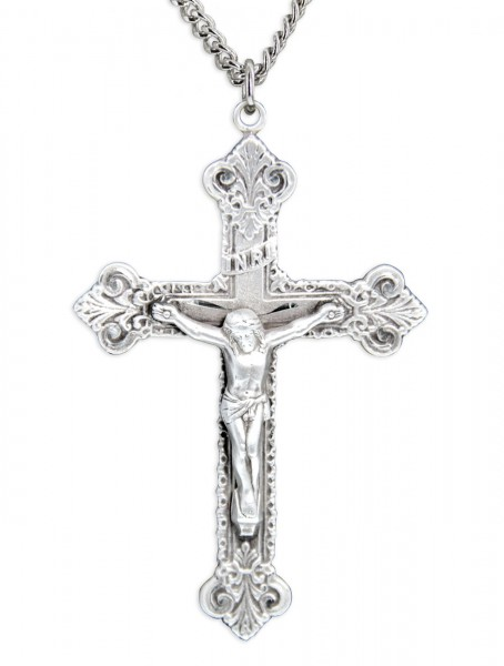 Men's Large Budded Edge Crucifix Pendant - Sterling Silver