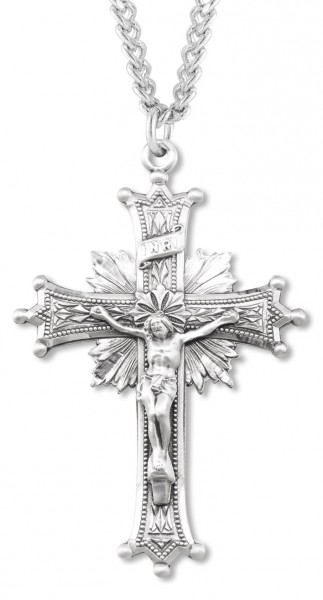 Men's Large Fancy Regal Crucifix Pendant - Sterling Silver