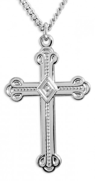 Men's Large High Polish Gothic Cross Pendant - Sterling Silver