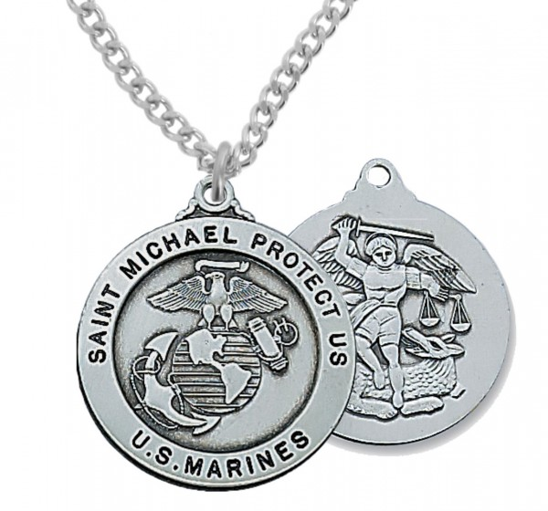 Men's Marines Saint Michael Medal Sterling Silver of Pewter - Pewter