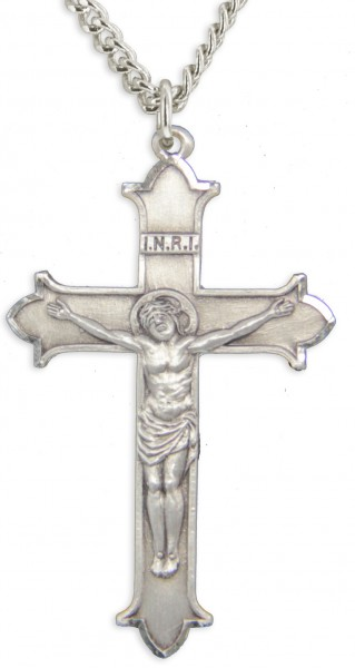 Men's Matte Finish Flat Cross Point Edge Crucifix - Sterling Silver