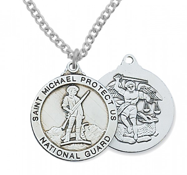 Men's National Guard Saint Michael Medal Sterling Silver - Silver