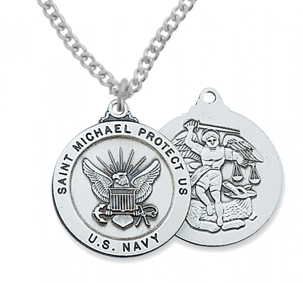 Men's Navy Saint Michael Medal Sterling Silver of Pewter - Silver