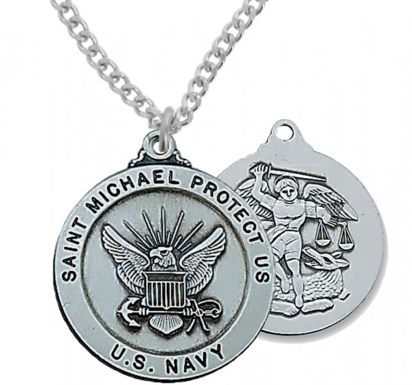 Men's Navy Saint Michael Medal Sterling Silver of Pewter - Pewter