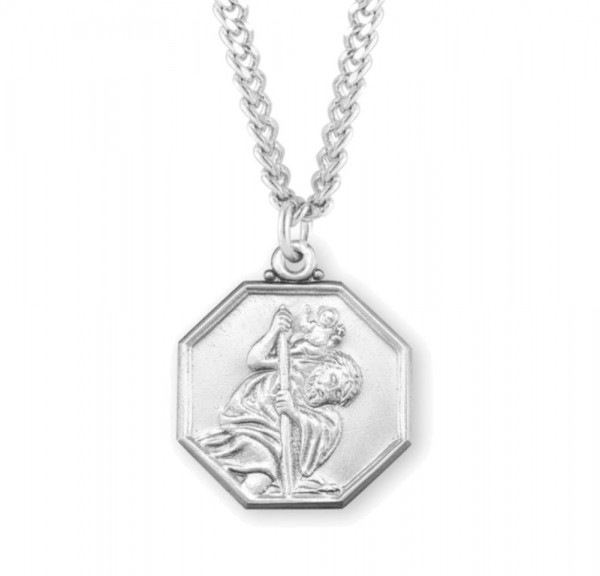 Men's Octagon Shape Saint Christopher Necklace - Sterling Silver