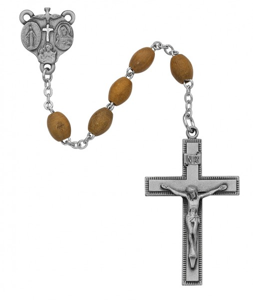 Men's Olive Wood Rosary with 4-Way Centerpiece - Brown