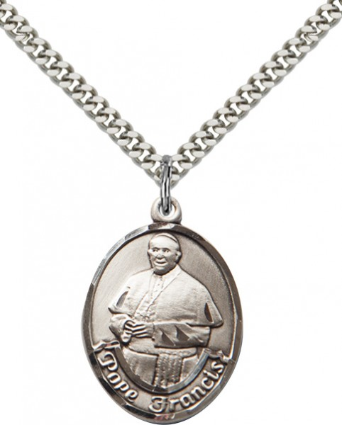 Men's Oval Pope Francis Pendant - Sterling Silver