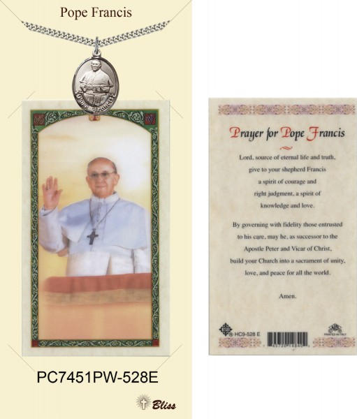 Men's Oval Pope Francis Pewter Pendant w. Prayer Card - Pewter