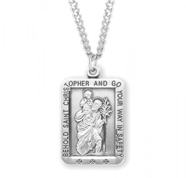 Men's Rectangular Behold St Christopher Necklace - Sterling Silver